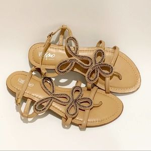 Mossimo Strappy Silver Beaded Beige Summer Sandals